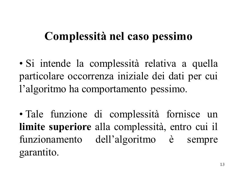 13 Complessità nel caso pessimo Si intende la complessità relativa a quella particolare occorrenza iniziale dei dati per cui lalgoritmo ha comportamen
