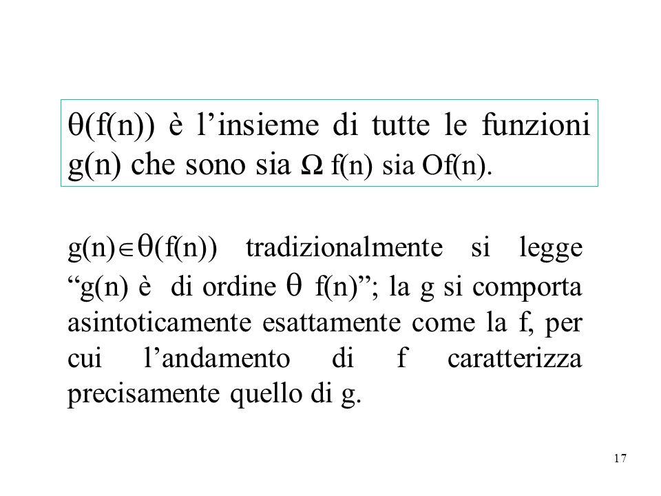 17 (f(n)) è linsieme di tutte le funzioni g(n) che sono sia f(n) sia Of(n). g(n) (f(n)) tradizionalmente si legge g(n) è di ordine f(n); la g si compo