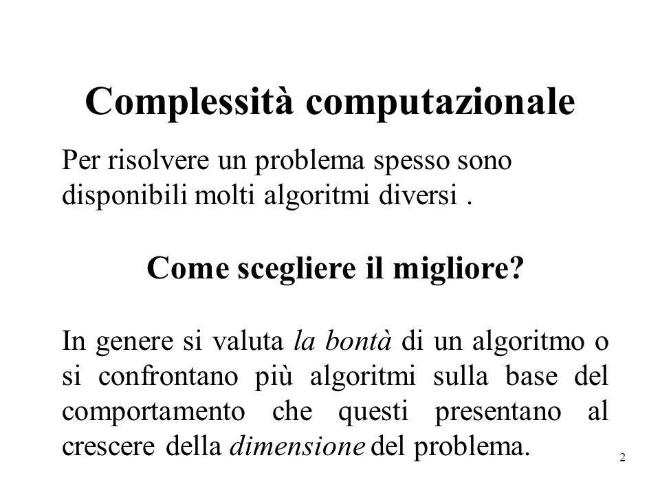 2 Complessità computazionale Per risolvere un problema spesso sono disponibili molti algoritmi diversi. Come scegliere il migliore? In genere si valut