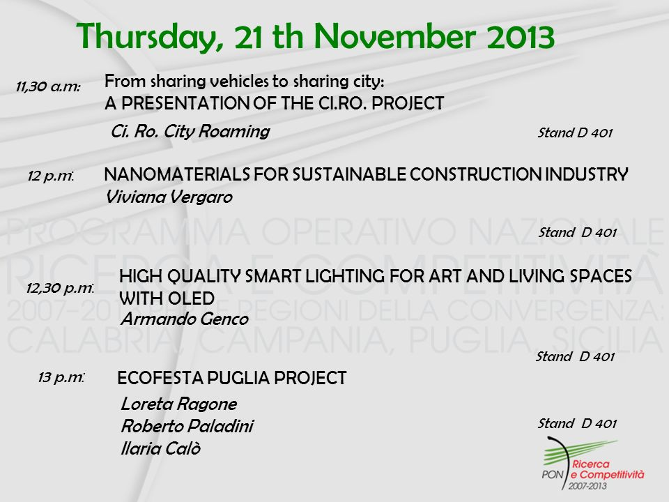 Thursday, 21 th November 2013 HIGH QUALITY SMART LIGHTING FOR ART AND LIVING SPACES WITH OLED Armando Genco 12,30 p.m : From sharing vehicles to shari