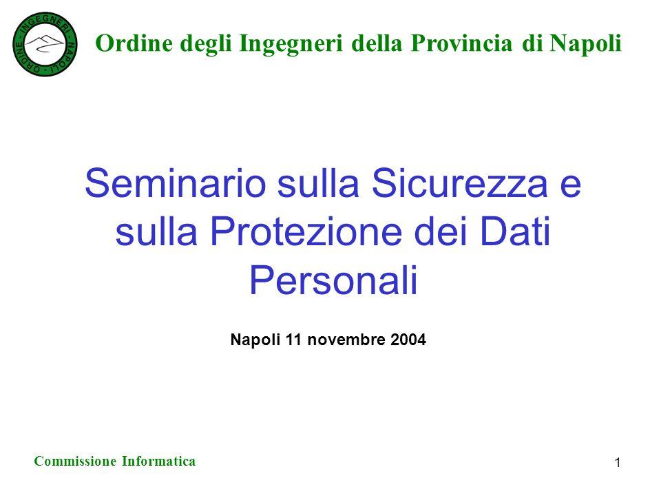Ordine degli Ingegneri della Provincia di Napoli Commissione Informatica 1 Seminario sulla Sicurezza e sulla Protezione dei Dati Personali Napoli 11 novembre 2004