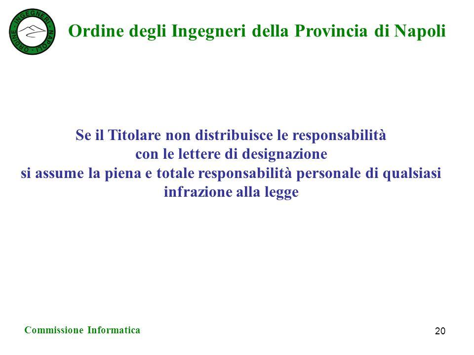 Ordine degli Ingegneri della Provincia di Napoli Commissione Informatica 20 Se il Titolare non distribuisce le responsabilità con le lettere di designazione si assume la piena e totale responsabilità personale di qualsiasi infrazione alla legge