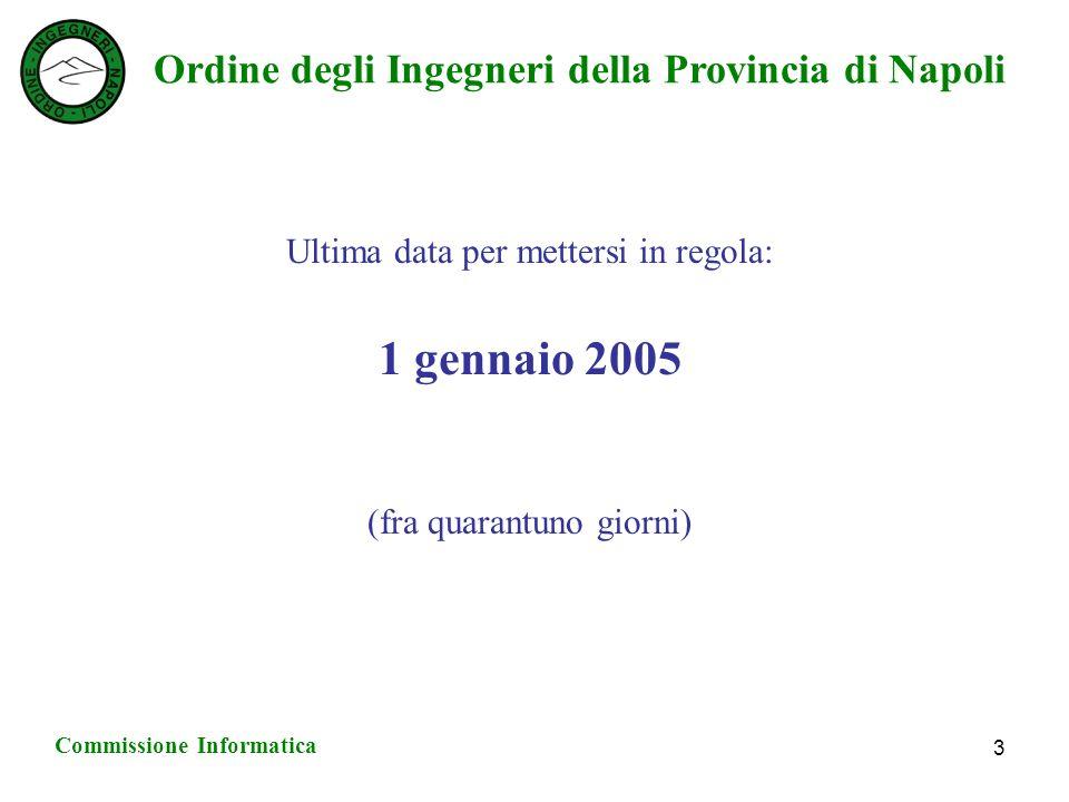 Ordine degli Ingegneri della Provincia di Napoli Commissione Informatica 3 Ultima data per mettersi in regola: 1 gennaio 2005 (fra quarantuno giorni)