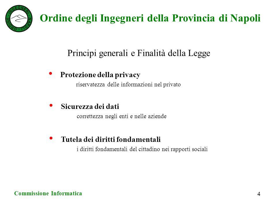 Ordine degli Ingegneri della Provincia di Napoli Commissione Informatica 4 Principi generali e Finalità della Legge Protezione della privacy riservatezza delle informazioni nel privato Sicurezza dei dati correttezza negli enti e nelle aziende Tutela dei diritti fondamentali i diritti fondamentali del cittadino nei rapporti sociali