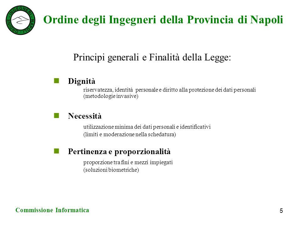 Ordine degli Ingegneri della Provincia di Napoli Commissione Informatica 6 Principi generali e Finalità della Legge: Valutazione di impatto Privacy