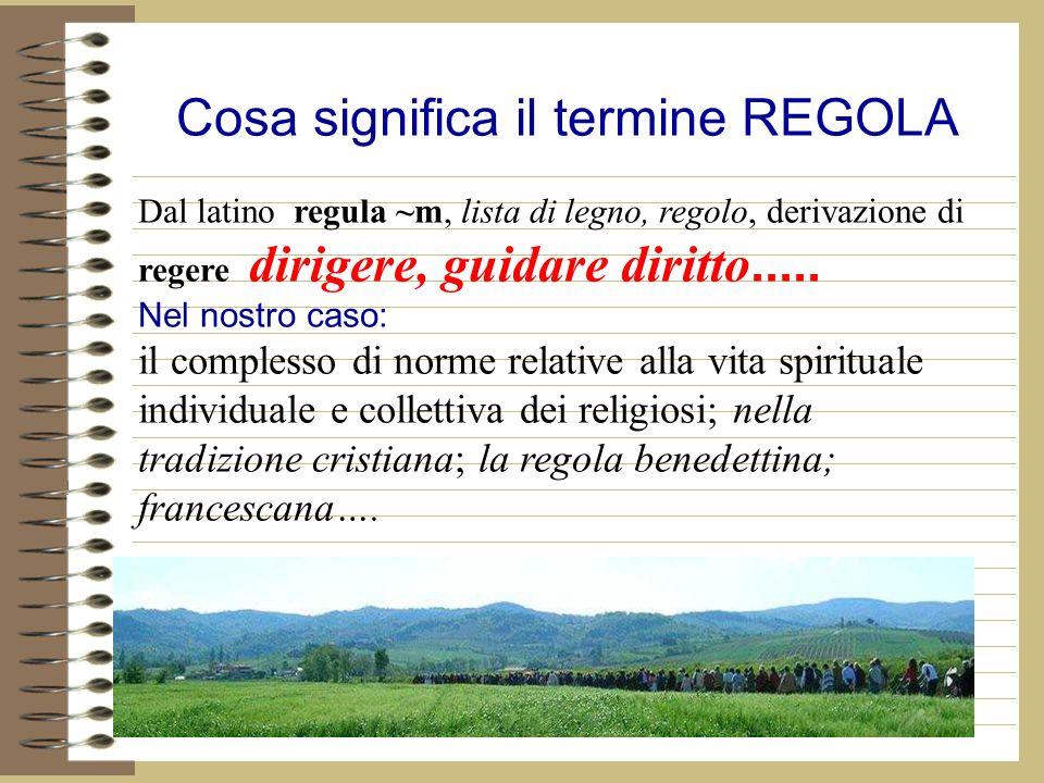 Cosa significa il termine REGOLA Dal latino regula ~m, lista di legno, regolo, derivazione di regere dirigere, guidare diritto.....