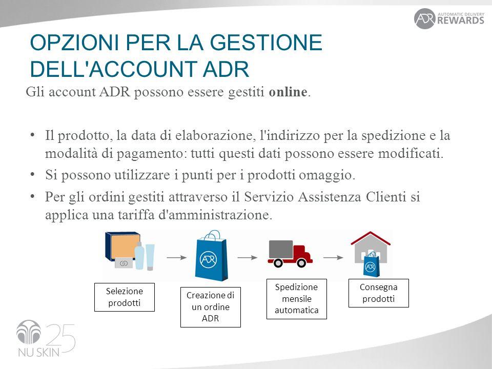 OPZIONI PER LA GESTIONE DELL ACCOUNT ADR Gli account ADR possono essere gestiti online.