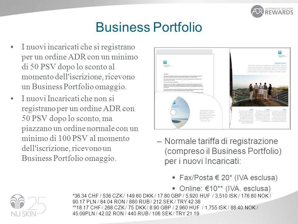 Business Portfolio I nuovi incaricati che si registrano per un ordine ADR con un minimo di 50 PSV dopo lo sconto al momento dell iscrizione, ricevono un Business Portfolio omaggio.
