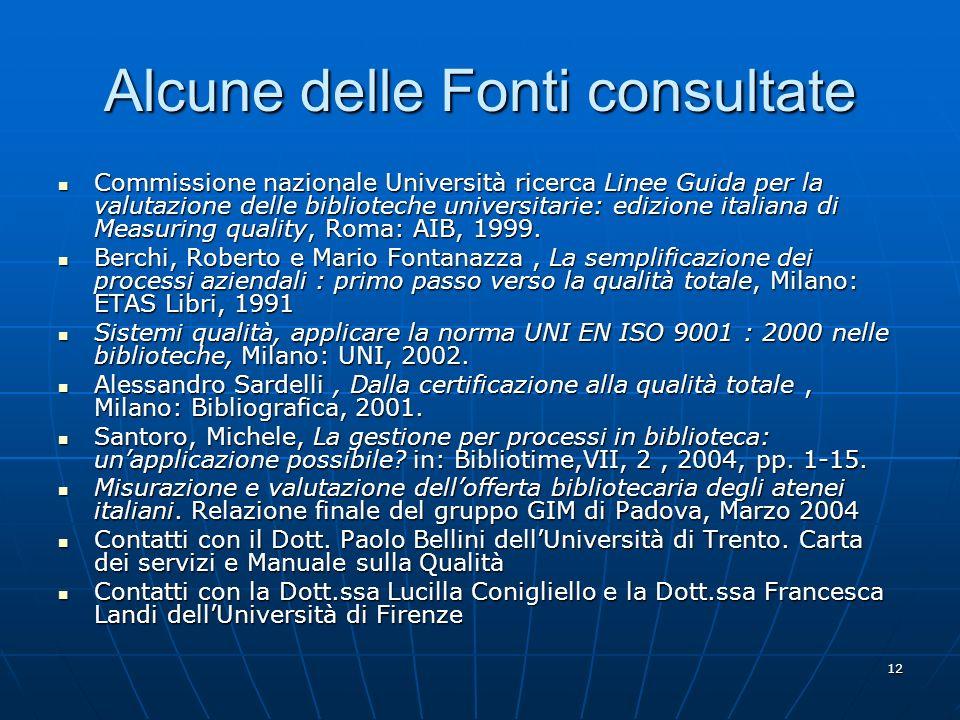 12 Alcune delle Fonti consultate Commissione nazionale Università ricerca Linee Guida per la valutazione delle biblioteche universitarie: edizione italiana di Measuring quality, Roma: AIB, 1999.