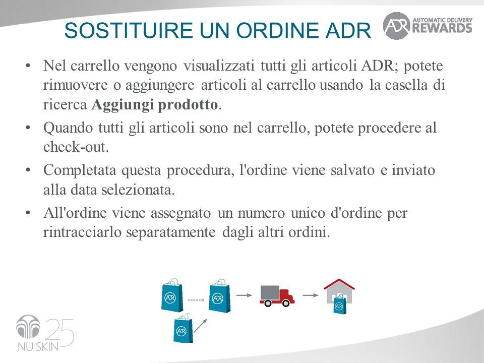 SOSTITUIRE UN ORDINE ADR Nel carrello vengono visualizzati tutti gli articoli ADR; potete rimuovere o aggiungere articoli al carrello usando la casell