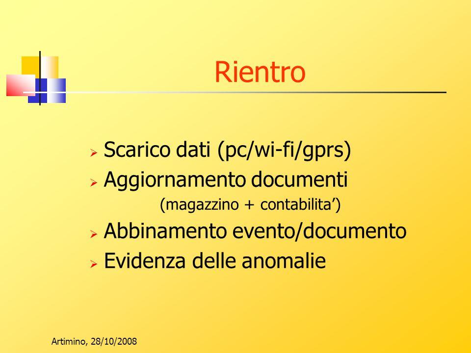 Artimino, 28/10/2008 Rientro Scarico dati (pc/wi-fi/gprs) Aggiornamento documenti (magazzino + contabilita) Abbinamento evento/documento Evidenza delle anomalie