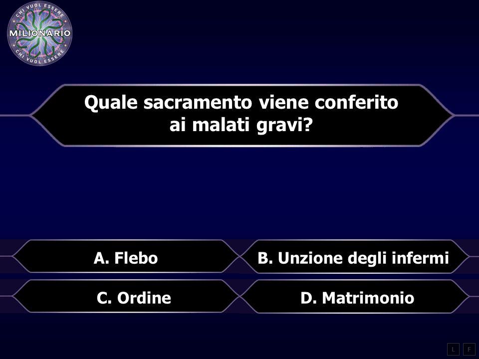 Quale sacramento viene conferito ai malati gravi.LF B.