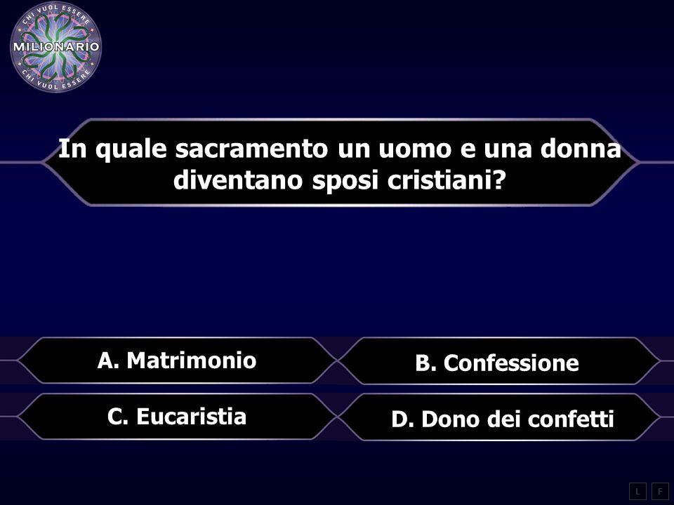 In quale sacramento un uomo e una donna diventano sposi cristiani.