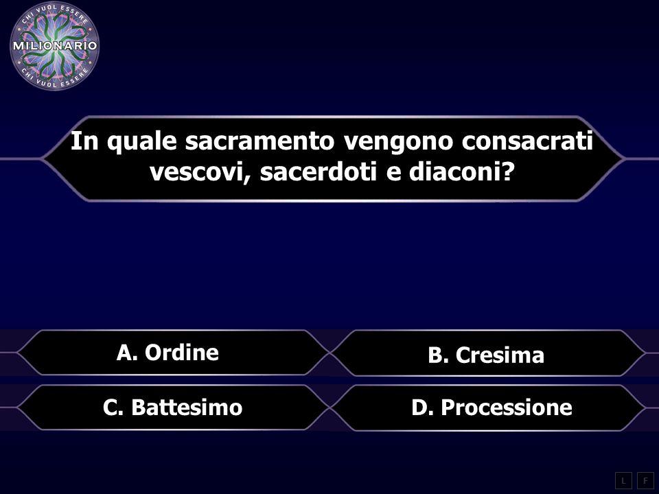 In quale sacramento vengono consacrati vescovi, sacerdoti e diaconi.