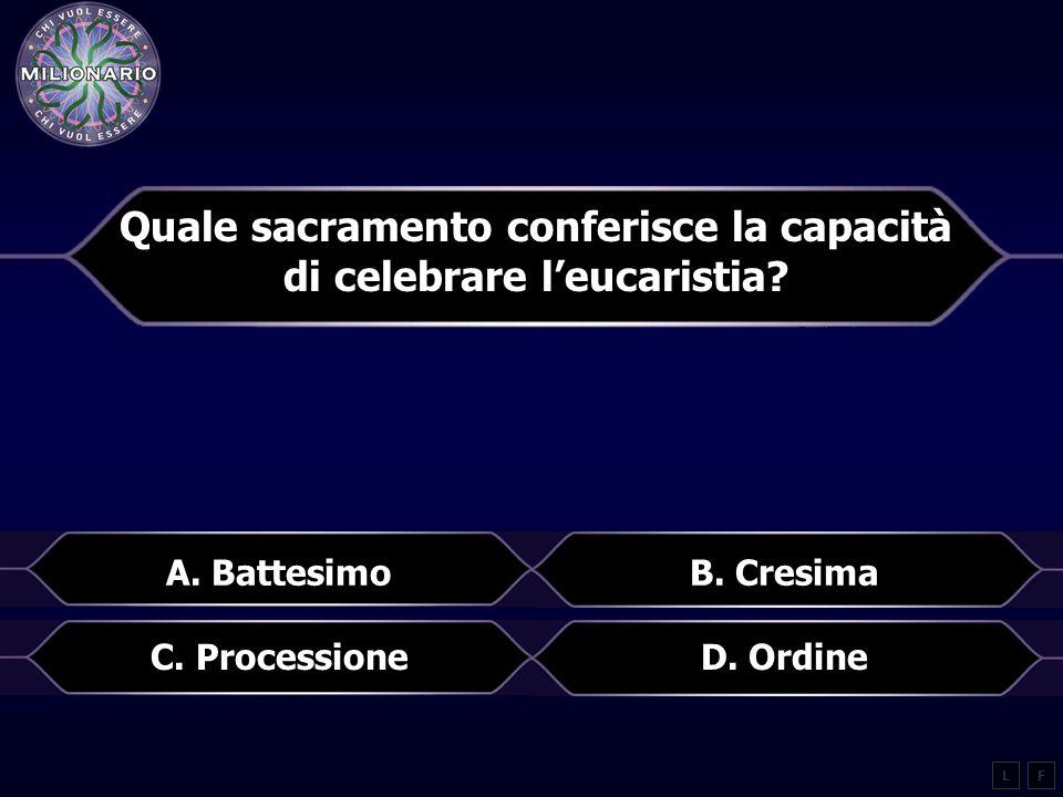 Quale sacramento conferisce la capacità di celebrare leucaristia.