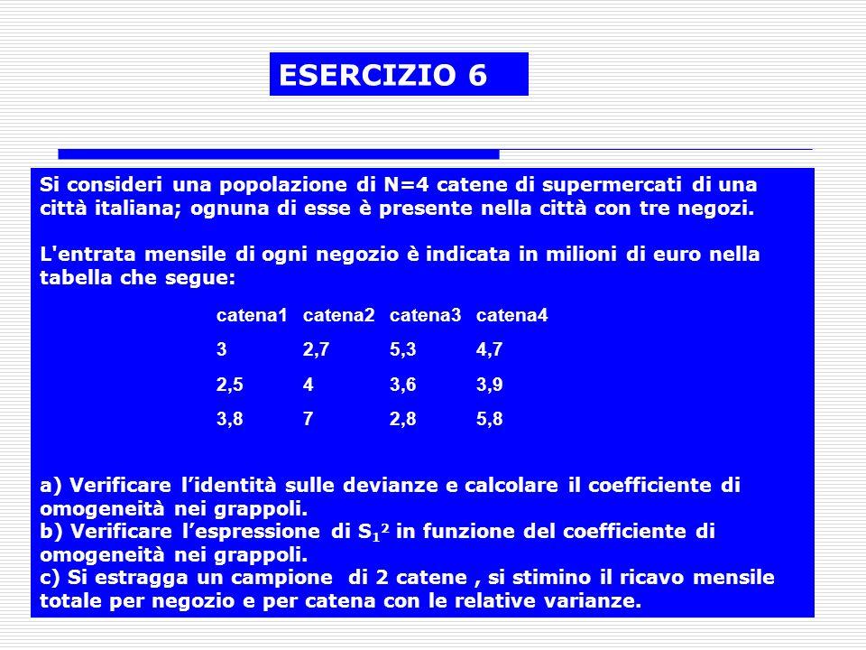 33 ESERCIZIO 6 Si consideri una popolazione di N=4 catene di supermercati di una città italiana; ognuna di esse è presente nella città con tre negozi.