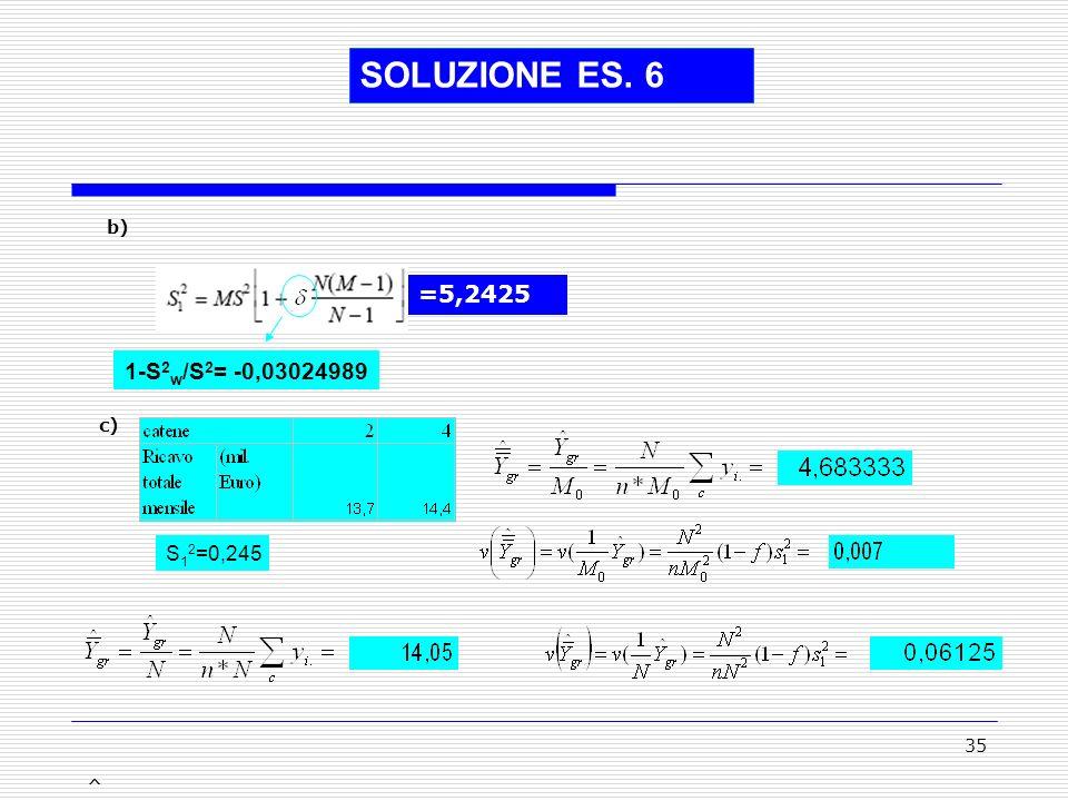 35 SOLUZIONE ES. 6 =5,2425 1-S 2 w /S 2 = -0,03024989 b) c) ^ ^ S 1 2 =0,245