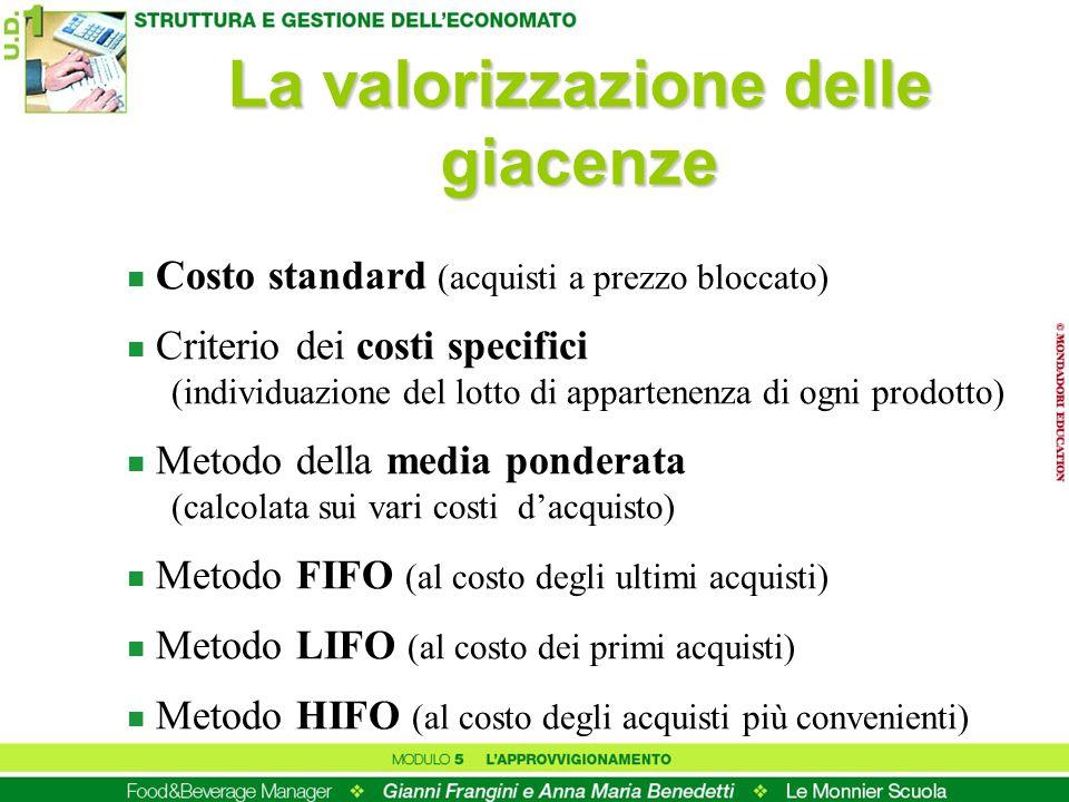 La valorizzazione delle giacenze n Costo standard (acquisti a prezzo bloccato) n Criterio dei costi specifici (individuazione del lotto di appartenenz