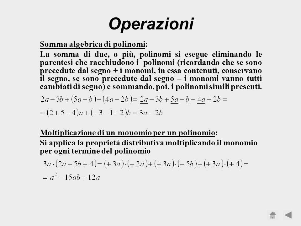 Un polinomio si dice completo, rispetto ad una determinata lettera, se di quella lettera ha tutti gli esponenti dal grado massimo al grado zero: è com