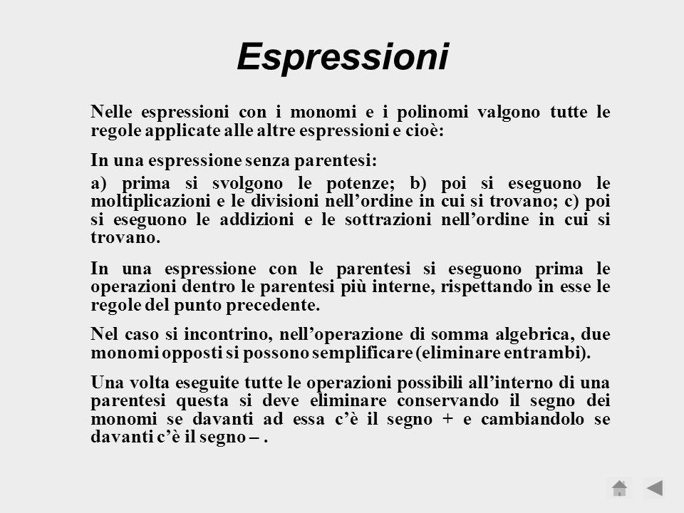 Espressioni Nelle espressioni con i monomi e i polinomi valgono tutte le regole applicate alle altre espressioni e cioè: In una espressione senza parentesi: a) prima si svolgono le potenze; b) poi si eseguono le moltiplicazioni e le divisioni nellordine in cui si trovano; c) poi si eseguono le addizioni e le sottrazioni nellordine in cui si trovano.