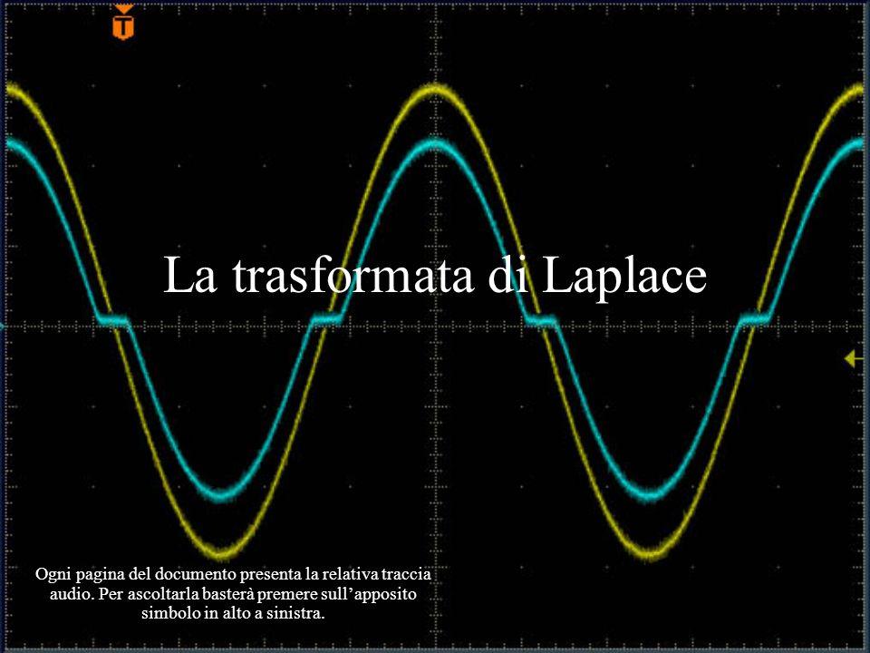 La trasformata di Laplace Ogni pagina del documento presenta la relativa traccia audio. Per ascoltarla basterà premere sullapposito simbolo in alto a