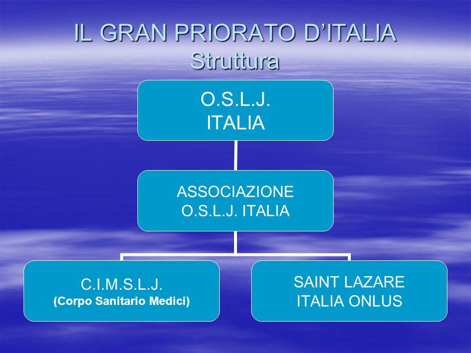 IL GRAN PRIORATO DITALIA Struttura O.S.L.J. ITALIA ASSOCIAZIONE O.S.L.J. ITALIA C.I.M.S.L.J. (Corpo Sanitario Medici) SAINT LAZARE ITALIA ONLUS
