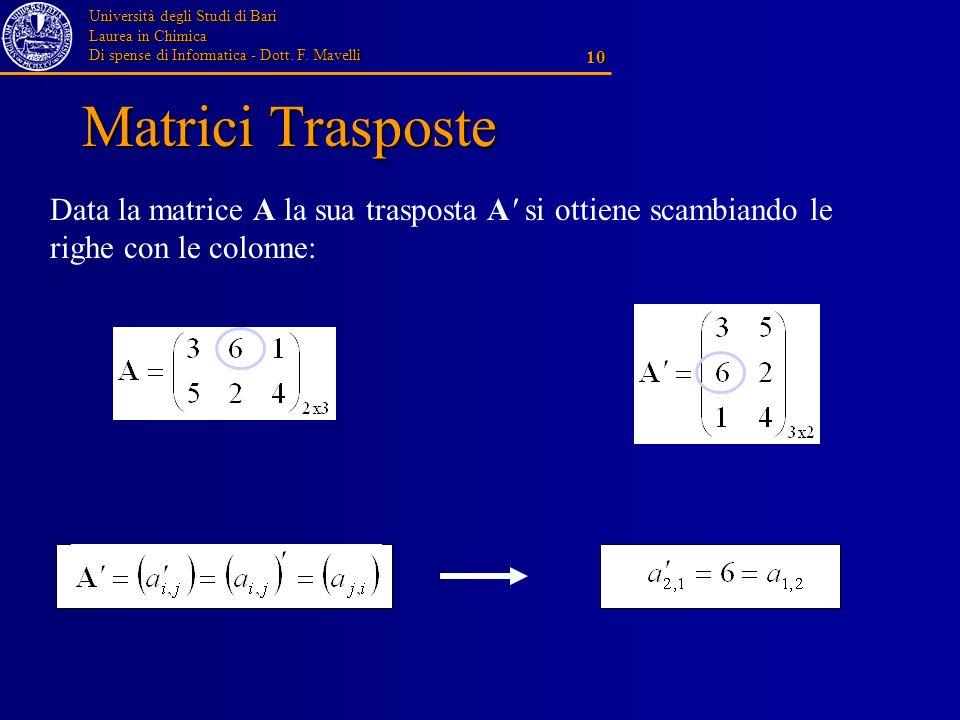 Università degli Studi di Bari Laurea in Chimica Di spense di Informatica - Dott. F. Mavelli 10 Matrici Trasposte Data la matrice A la sua trasposta A