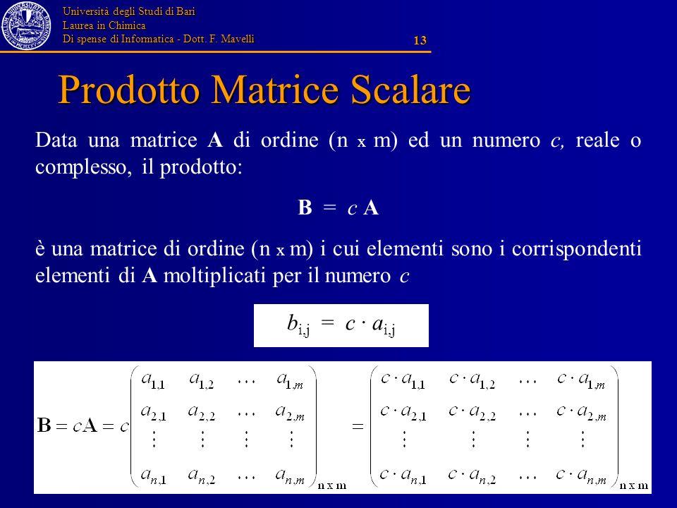Università degli Studi di Bari Laurea in Chimica Di spense di Informatica - Dott. F. Mavelli 13 Prodotto Matrice Scalare Data una matrice A di ordine