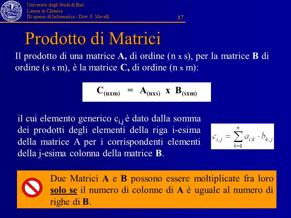 Università degli Studi di Bari Laurea in Chimica Di spense di Informatica - Dott. F. Mavelli 17 Prodotto di Matrici C (nxm) = A (nxs) x B (sxm) Il pro
