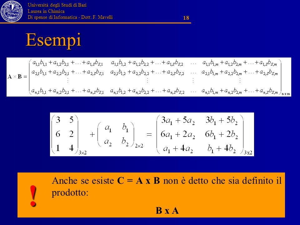 Università degli Studi di Bari Laurea in Chimica Di spense di Informatica - Dott. F. Mavelli 18 Esempi Anche se esiste C = A x B non è detto che sia d