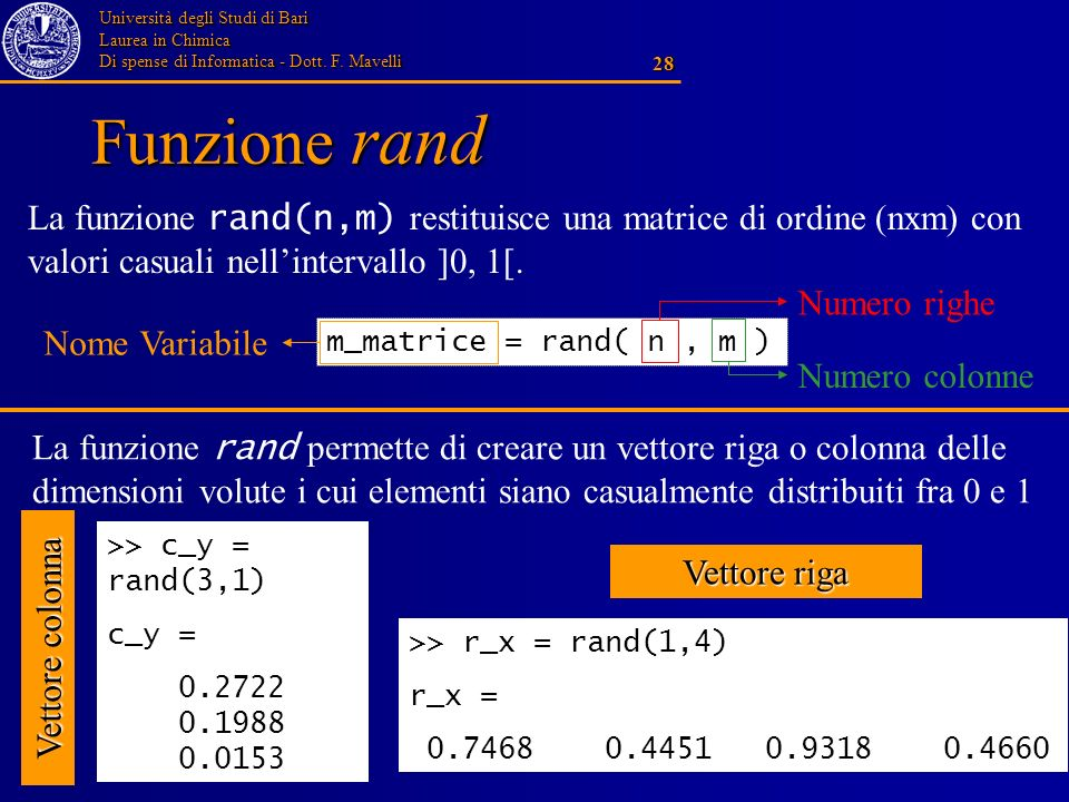 Università degli Studi di Bari Laurea in Chimica Di spense di Informatica - Dott. F. Mavelli 28 Funzione rand >> c_y = rand(3,1) c_y = 0.2722 0.1988 0