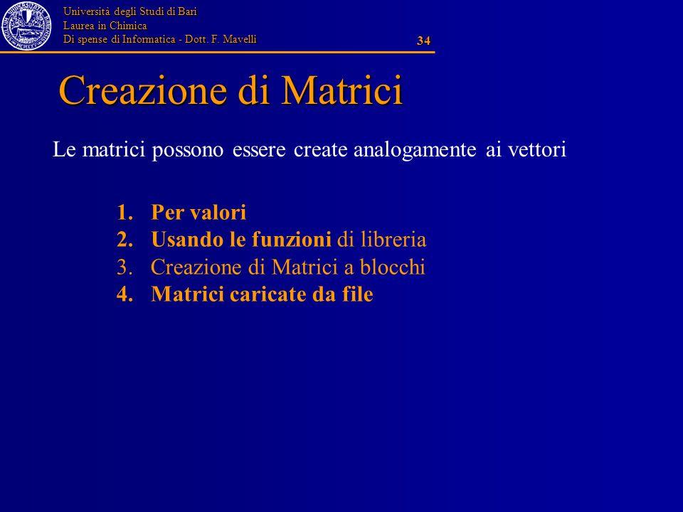 Università degli Studi di Bari Laurea in Chimica Di spense di Informatica - Dott. F. Mavelli 34 Creazione di Matrici Le matrici possono essere create