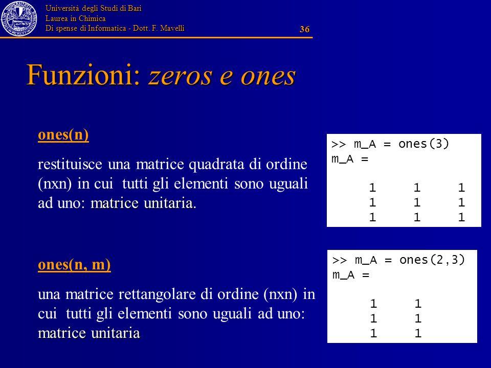Università degli Studi di Bari Laurea in Chimica Di spense di Informatica - Dott. F. Mavelli 36 Funzioni: zeros e ones ones(n) matrice unitaria restit
