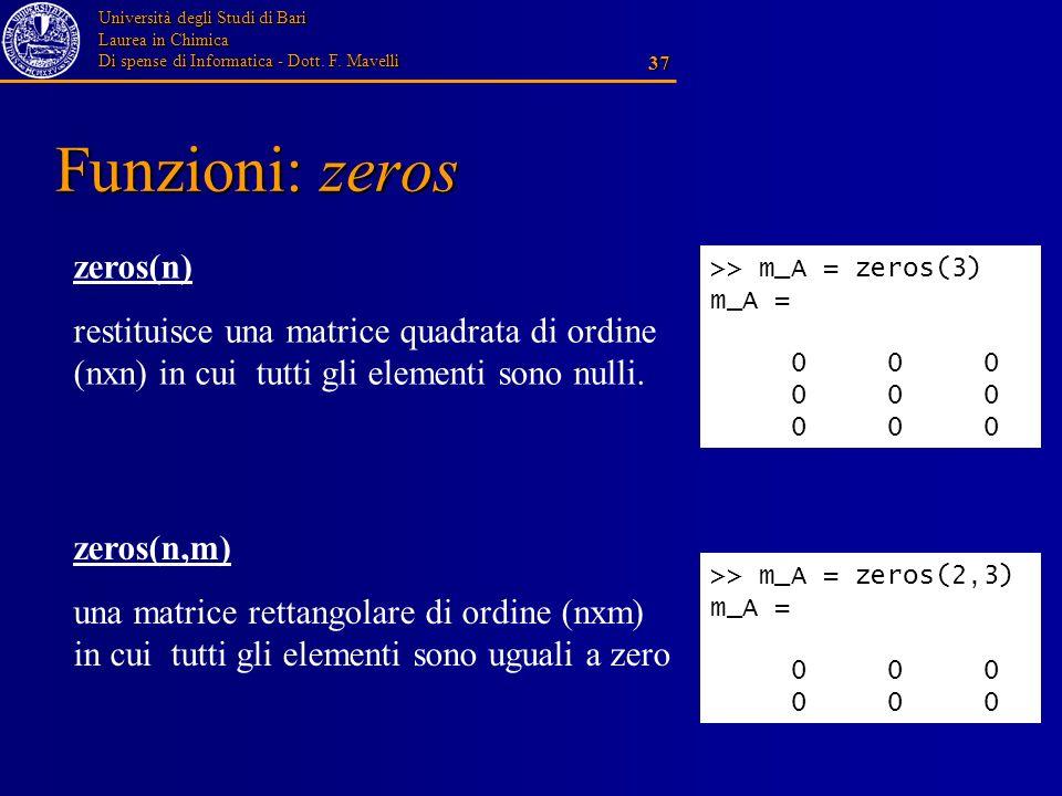 Università degli Studi di Bari Laurea in Chimica Di spense di Informatica - Dott. F. Mavelli 37 Funzioni: zeros zeros(n) restituisce una matrice quadr