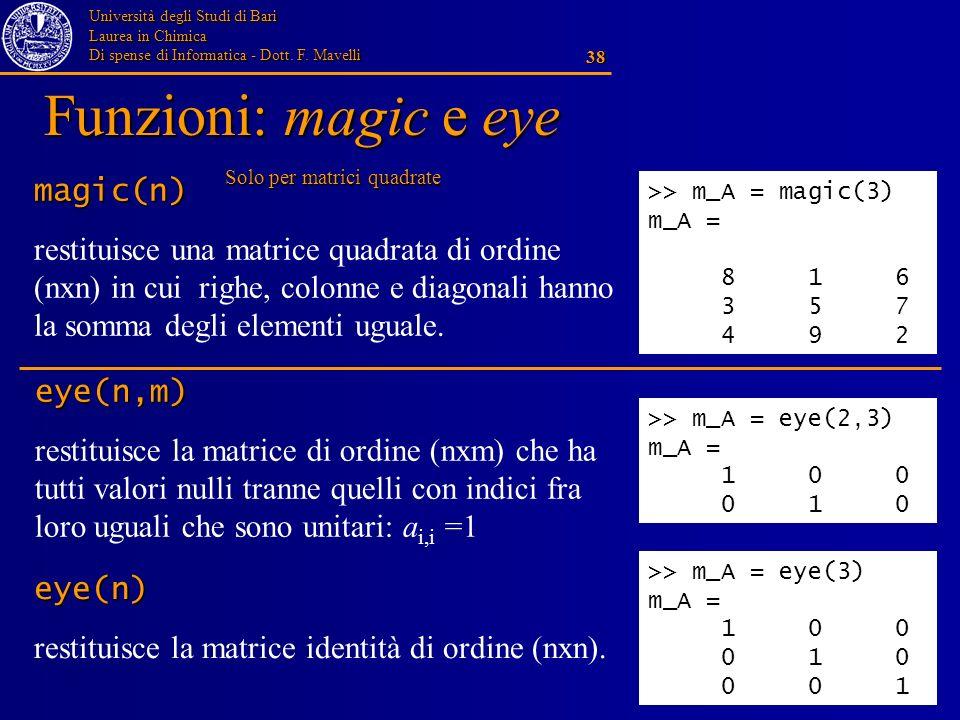 Università degli Studi di Bari Laurea in Chimica Di spense di Informatica - Dott. F. Mavelli 38 Funzioni: magic e eye magic(n) restituisce una matrice