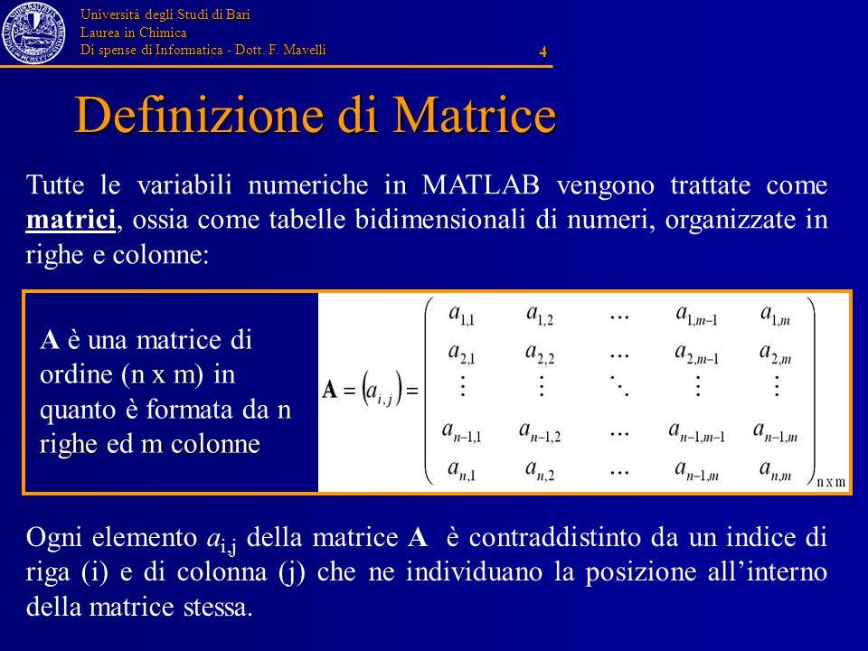 Università degli Studi di Bari Laurea in Chimica Di spense di Informatica - Dott. F. Mavelli 4 Definizione di Matrice Tutte le variabili numeriche in