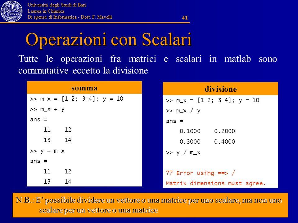 Università degli Studi di Bari Laurea in Chimica Di spense di Informatica - Dott. F. Mavelli 41 Operazioni con Scalari Tutte le operazioni fra matrici