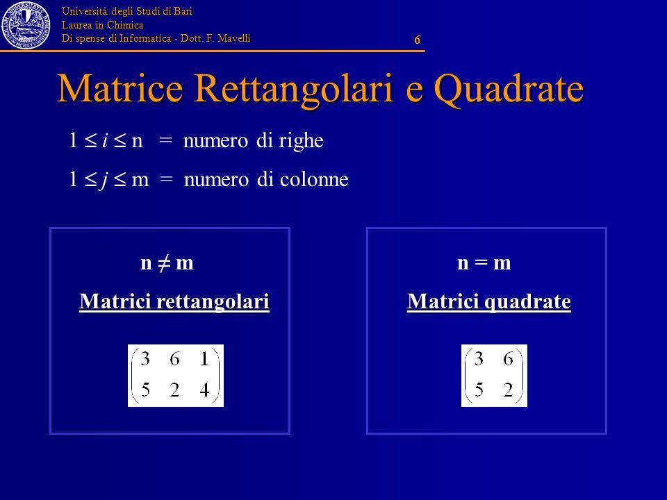 Università degli Studi di Bari Laurea in Chimica Di spense di Informatica - Dott. F. Mavelli 6 Matrice Rettangolari e Quadrate 1 i n = numero di righe