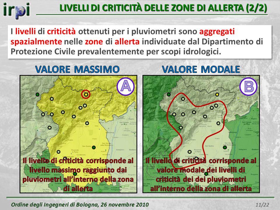 Ordine degli Ingegneri di Bologna, 26 novembre 2010 Ordine degli Ingegneri di Bologna, 26 novembre 2010 11/22 LIVELLI DI CRITICITÀ DELLE ZONE DI ALLER