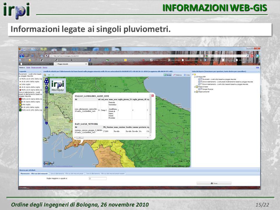 Ordine degli Ingegneri di Bologna, 26 novembre 2010 Ordine degli Ingegneri di Bologna, 26 novembre 2010 15/22 INFORMAZIONI WEB-GIS Informazioni legate