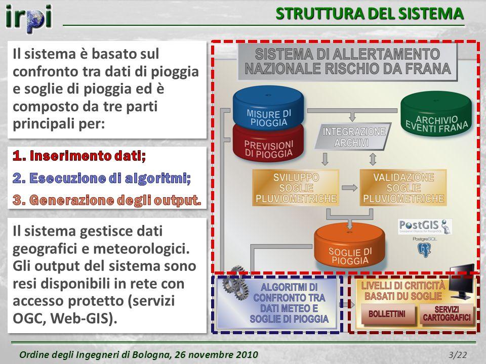 Ordine degli Ingegneri di Bologna, 26 novembre 2010 Ordine degli Ingegneri di Bologna, 26 novembre 2010 3/22 STRUTTURA DEL SISTEMA Il sistema è basato