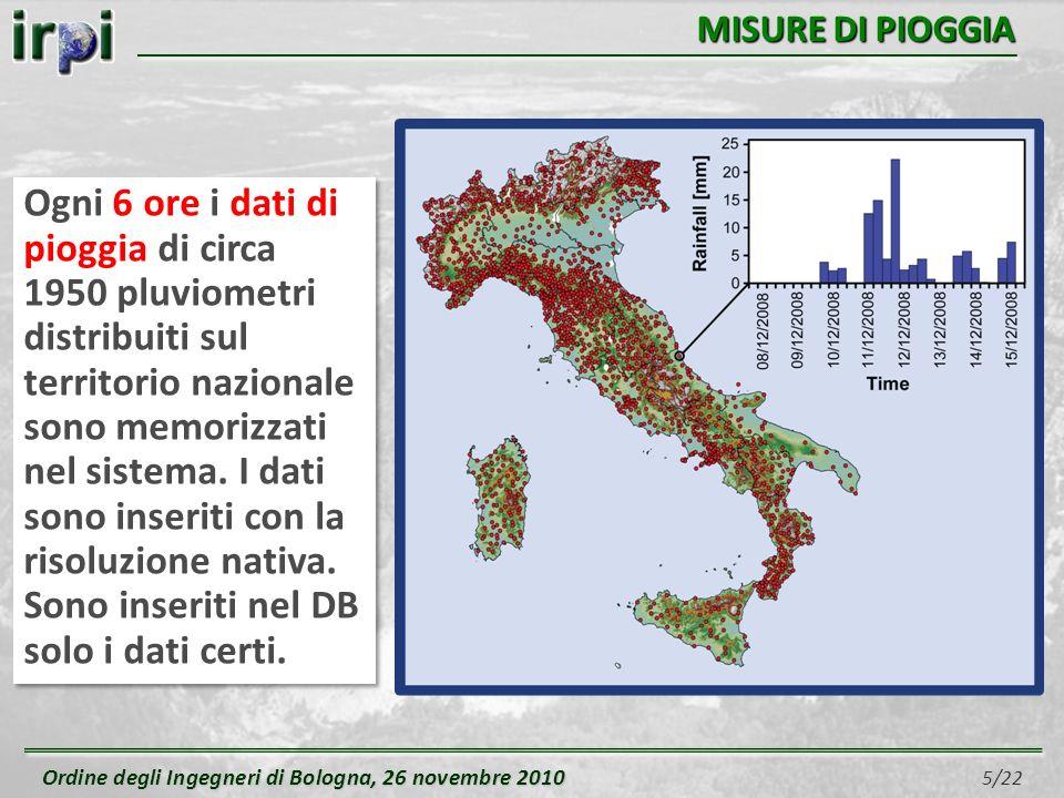 Ordine degli Ingegneri di Bologna, 26 novembre 2010 Ordine degli Ingegneri di Bologna, 26 novembre 2010 6/22 PREVISIONI DI PIOGGIA Ogni 12 ore i dati del modello di previsione (LAMI) quantitativa di pioggia sono memorizzati nel sistema.