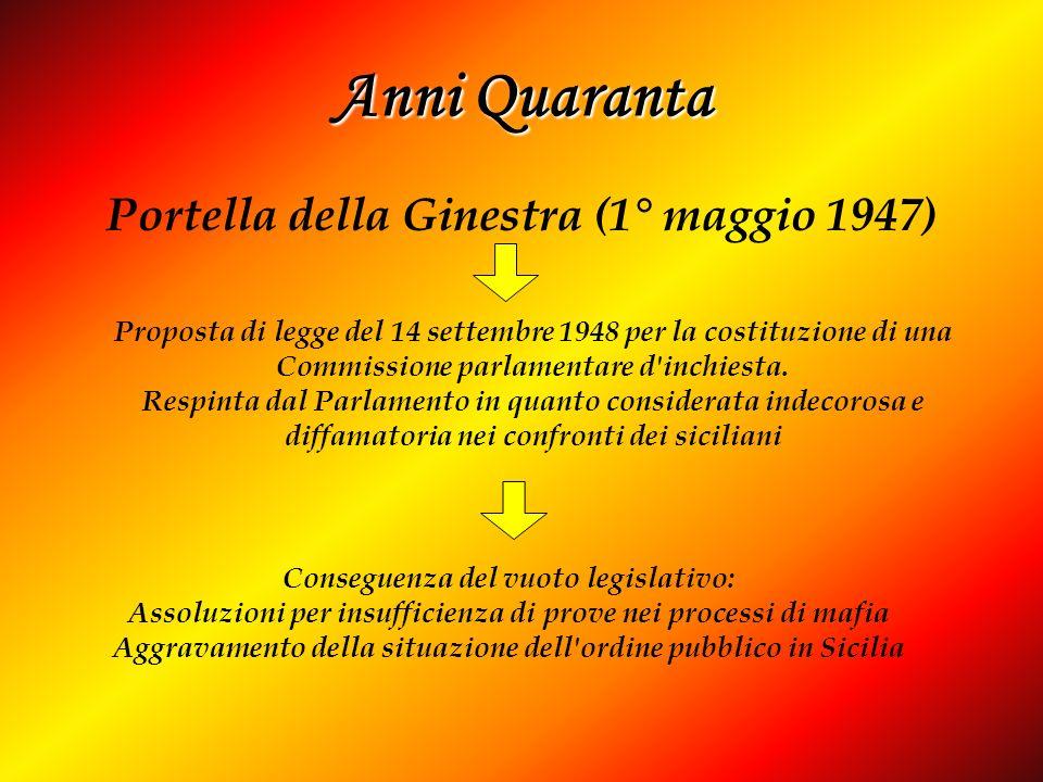 Anni Quaranta Portella della Ginestra (1° maggio 1947) Conseguenza del vuoto legislativo: Assoluzioni per insufficienza di prove nei processi di mafia