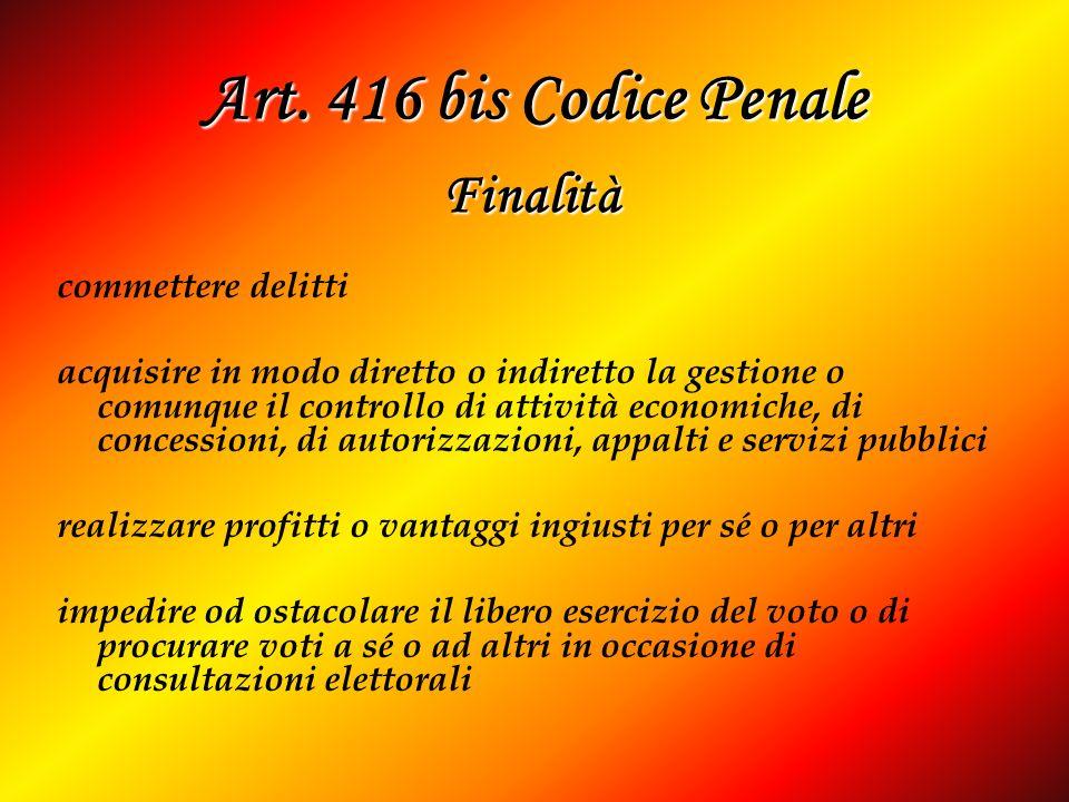 Art. 416 bis Codice Penale commettere delitti acquisire in modo diretto o indiretto la gestione o comunque il controllo di attività economiche, di con