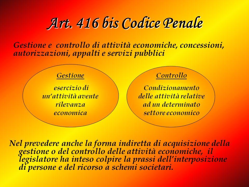 Art. 416 bis Codice Penale Nel prevedere anche la forma indiretta di acquisizione della gestione o del controllo delle attività economiche, il legisla