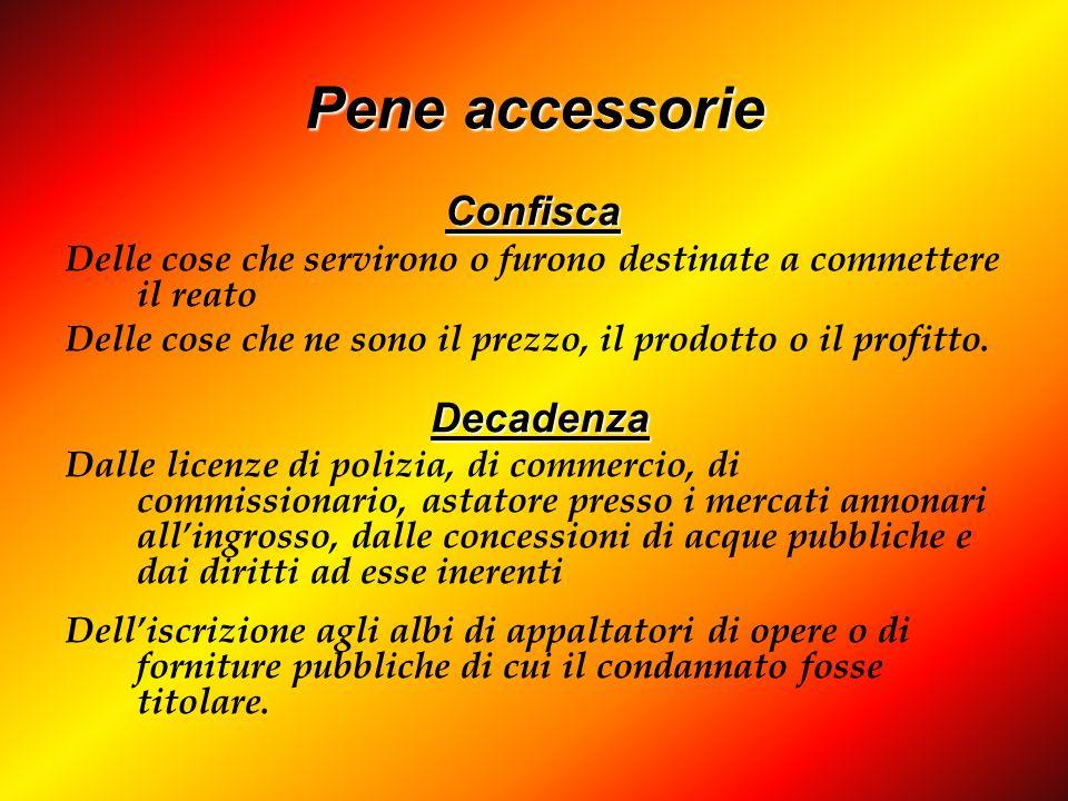 Pene accessorie Confisca Confisca Delle cose che servirono o furono destinate a commettere il reato Delle cose che ne sono il prezzo, il prodotto o il