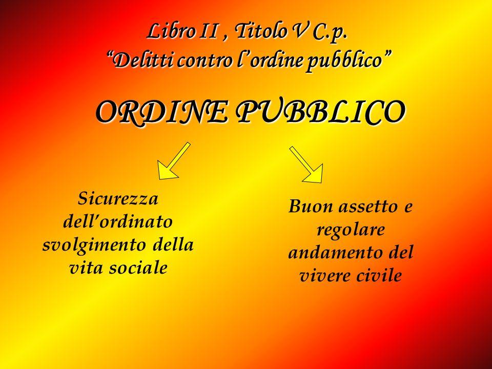 Libro II, Titolo V C.p. Delitti contro lordine pubblico Sicurezza dellordinato svolgimento della vita sociale Buon assetto e regolare andamento del vi