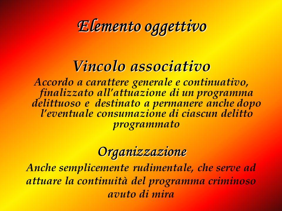 Elemento oggettivo Vincolo associativo Accordo a carattere generale e continuativo, finalizzato allattuazione di un programma delittuoso e destinato a