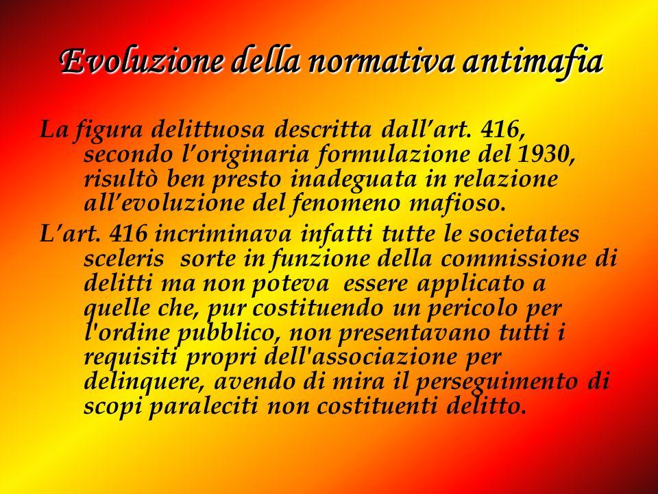 Evoluzione della normativa antimafia La figura delittuosa descritta dallart. 416, secondo loriginaria formulazione del 1930, risultò ben presto inadeg