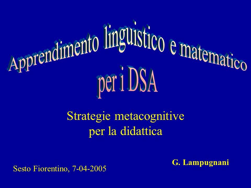 Strategie metacognitive per la didattica G. Lampugnani Sesto Fiorentino, 7-04-2005